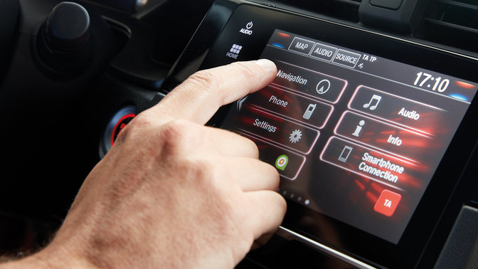 Close up of Honda CONNECT infotainment system with Garmin Navigation.