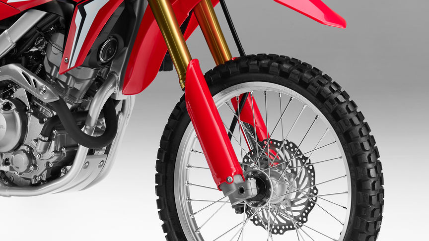 Close up of Honda CRF250L front suspension.