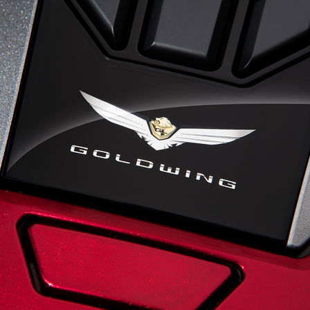 Close up of Honda Gold Wing badge.