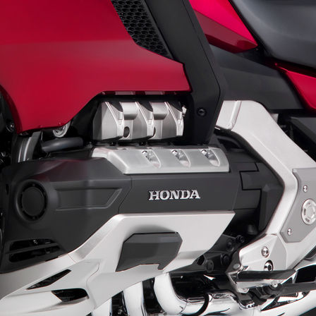 Close up of Honda Gold Wing engine.